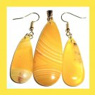 Yellow AGATE Teardrop Gemstone 10k Yellow Gold Pendant Hook Earrings Jewelry Set