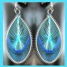 Shades of BLUE Teardrop Shaped Dangle Sterling Silver Overlay Chandelier Hook Earrings