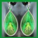 Shades of GREEN Teardrop Shaped Dangle Sterling Silver Overlay Chandelier Hook Earrings