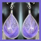 Shades of PURPLE Teardrop Shaped Dangle Sterling Silver Overlay Chandelier Hook Earrings
