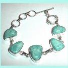 Turquoise Blue MAGNESITE Gemstone Freeform Fancy Cut 925 Sterling Silver Overlay Link Bracelet