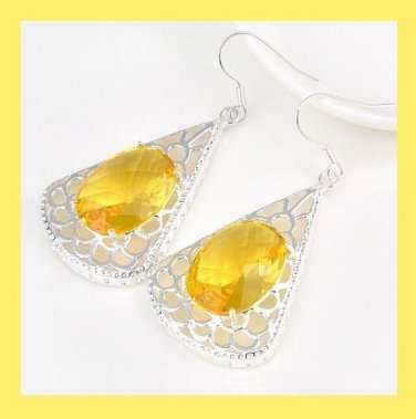 Yellow CITRINE Oval Cut Lab Gemstone 925 Sterling Silver Overlay Triangle Shaped Hook Earrings