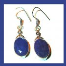 Natural Blue SAPPHIRE Oval Cut Gemstone 925 Sterling Silver Overlay 2 Inch Hook Earrings