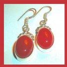 Red ONYX Oval Cut Gemstone 925 Sterling Silver Overlay Hook Earrings
