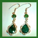 Natural EMERALD Pear Round Cut Faceted Gemstone 925 Sterling Silver Chandelier Hook Earrings