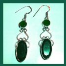 Natural EMERALD Oval Round Cut Faceted Gemstone 925 Sterling Silver Chandelier Hook Earrings