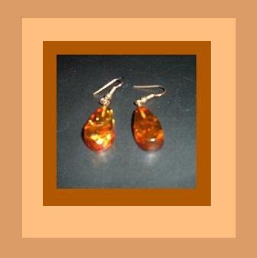Natural Honey Amber Teardrop Pear Shaped Gold Chandelier & Sterling Silver Fish Hook Earrings