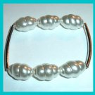 Bracelet with 6 White faux Baroque Pearls & 2 Silver plated Connector Bars