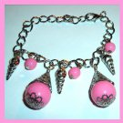 Lot of 2 NEW Pink and Silver Plated Link Tennis Charm Bracelets