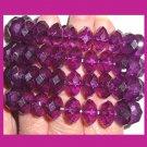 Lot of 4 NEW Sparkling Purple Violet Faceted Crystal Beads Bangle Bracelets