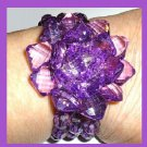 NEW Sparkling Faceted Purple Crystal Flower and 3 Strands of Beads Bracelet