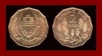BOTSWANA 1981 2 THEBE COMMEMORATIVE COIN KM#14 AFRICA
