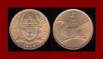 BOTSWANA 1989 5 THEBE COIN KM#4 BRONZE 20mm Africa
