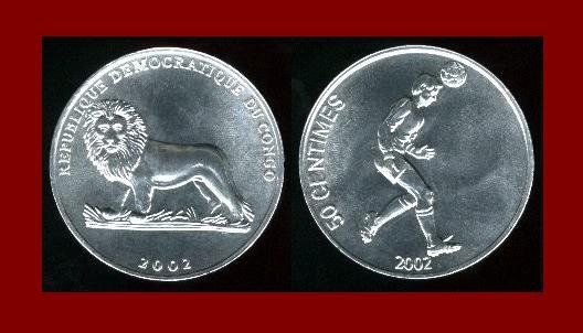 CONGO 2002 50 CENTIMES COIN KM#75 Africa BEAUTIFUL COIN!