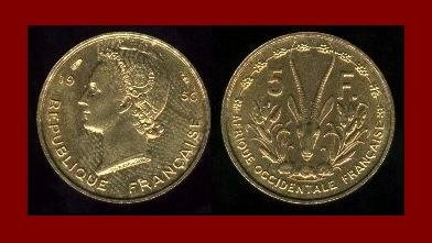 FRENCH WEST AFRICA 1956 5 FRANCS BRONZE COIN KM#5 Africa GAZELLE