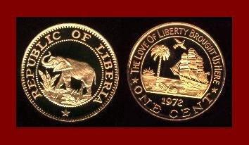 LIBERIA 1972 1 CENT BRONZE COIN KM#13 Africa Elephant - Galleon Ship - AU - BEAUTIFUL!