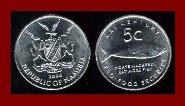 FAO ISSUE - NAMIBIA 2000 5 CENTS COIN KM#16 African Horse Mackerel Fish ~ AU ~ BEAUTIFUL!