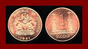 NIGERIA 1991 1 KOBO AFRICAN COIN KM#8.a ~ Oil Rigs ~ AU ~ BEAUTIFUL!
