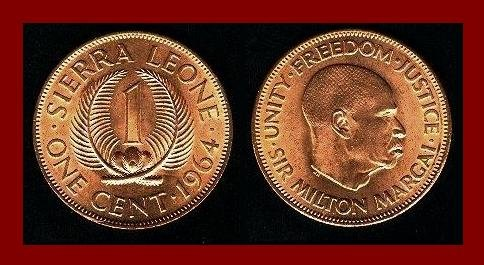 Sierra Leone 1964 One Cent Bronze Coin Km 17 Africa Sir Milton Margai