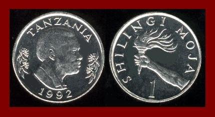 TANZANIA 1992 1 SHILINGI COIN KM#22 Africa ~ AU ~ BEAUTIFUL!