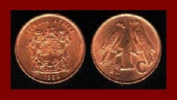 SOUTH AFRICA 1998 1 CENT COIN KM#170 AFRICAN NDEBELE TRIBAL LEGEND