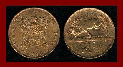 SOUTH AFRICA 1983 2 CENTS BRONZE GNU COIN KM#83 AFRICAN SUID TRIBAL LEGEND