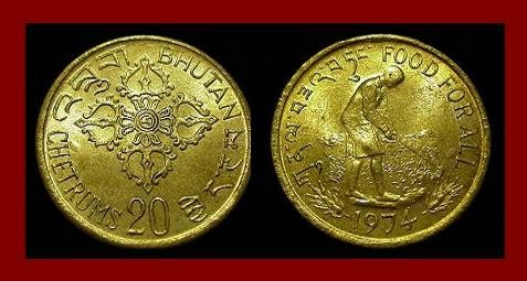 FAO ISSUE ~ BHUTAN 1974 20 CHETRUMS COIN KM#39 Asia ~ BEAUTIFUL!