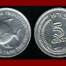 FAO ISSUE ~ SINGAPORE 1971 5 CENTS COIN KM#8 ASIA ~ Flounder Fish - BEAUTIFUL!