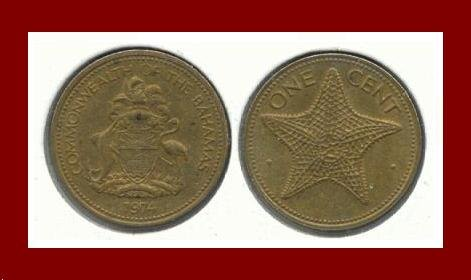 BAHAMAS 1974 ONE CENT BRASS COIN KM#59 Royal Mint Caribbean Starfish - LOW MINTAGE!