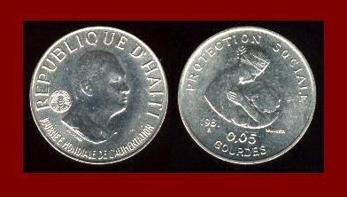 FAO ISSUE ~ HAITI 1981 5 CENTIMES COIN KM#145 Jean-Claude Duvalier ~ LOW MINTAGE! ~ AU ~ BEAUTIFUL!