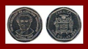 FAO ISSUE - JAMAICA 1996 1 DOLLAR COMMEMORATIVE COIN KM#164 Caribbean Bustamante ~ BEAUTIFUL!