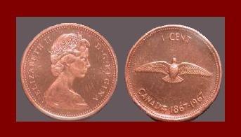 CANADA 1967 1 CENT BRONZE COMMEMORATIVE CENTENNIAL COIN KM#65 Dove