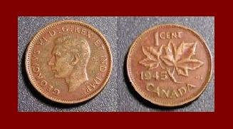 CANADA 1945 1 CENT BRONZE COIN KM#32 King George VI - WWII COIN