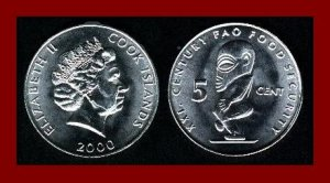 F.A.O. ~ COOK ISLANDS 2000 5 CENTS COIN KM369 Tangaroa Polynesian God ~ SURVIVOR 2006 ~ BEAUTIFUL!