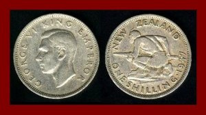 NEW ZEALAND 1947 1 SHILLING COIN KM#27.2 Oceania ~ King George VI ~ Maori Warrior & Spear ~ SCARCE!