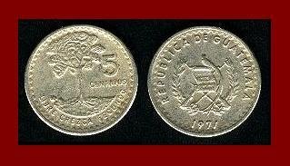 GUATEMALA 1971 5 CENTAVOS COIN KM#270 Central America - Long Tailed Quetzal Bird