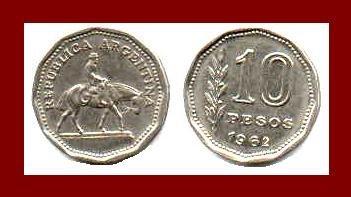 ARGENTINA 1962 10 PESOS COIN KM#35 South America - Gaucho & Horse ~ BEAUTIFUL!
