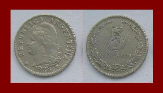 ARGENTINA 1923 5 CENTAVOS COIN KM#9 South America