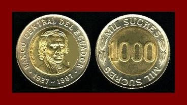ECUADOR 1997 1,000 SUCRES COIN KM#103 South America - Bi-Metal Coin