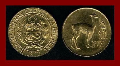 PERU 1972 1/2 SOL DE ORO BRASS COIN KM#247 South American Vicuna