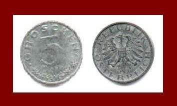 AUSTRIA 1949 5 GROSCHEN COIN KM#2874 Europe