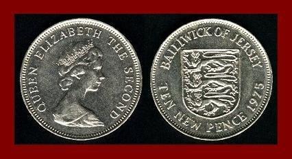 BAILIWICK OF JERSEY 1975 10 NEW PENCE COIN 28.5mm KM#33 Europe ~ BEAUTIFUL!
