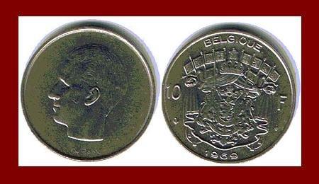 BELGIUM 1969 10 FRANCS COIN 27mm KM#155.1 Europe - BELGIQUE French Legend ~ BEAUTIFUL!