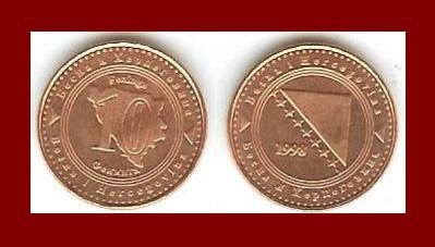 BOSNIA HERZEGOVINA 1998 10 FENINGA COIN KM#115 Europe ~ BEAUTIFUL!
