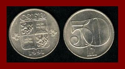 CZECH SLOVAK FEDERAL REPUBLIC CSFR 1991 50 HALERU COIN KM#144 Europe SCARCE! LOW MINTAGE!