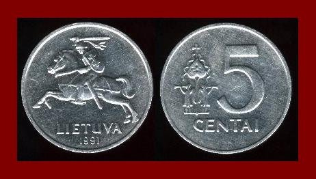 LITHUANIA 1991 5 CENTAI COIN KM#87 Europe - Mounted Knight