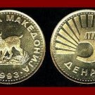 MACEDONIA 1993 5 DENARI BRASS COIN KM#4 European Lynx ~ AU ~ BEAUTIFUL COIN!