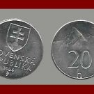SLOVAKIA 1994 20 HALIERS COIN KM#18 Europe ~ BEAUTIFUL!