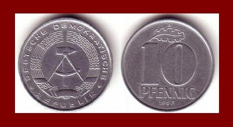 EAST GERMANY 1967(A) 10 PFENNIG KM#10 Europe - East Berlin City Seal - Communist Germany