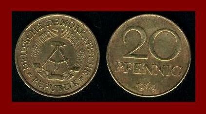 EAST GERMANY 1969 20 PFENNIG BRASS COIN KM#11 Europe - East Berlin City Seal - Communist Germany